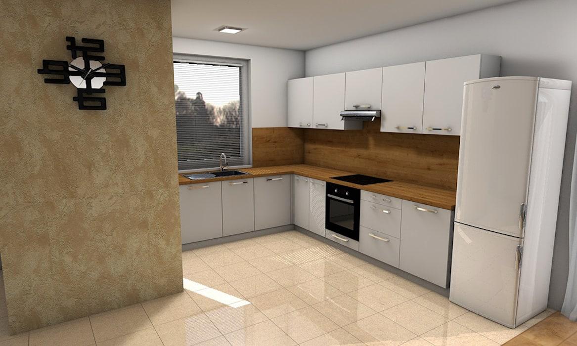 3D návrh kuchyne na mieru - biela kuchyňa s pracovnou doskou s dekorom dreva